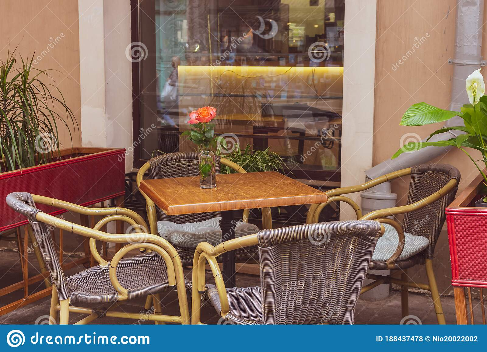 Empty Outdoor Cafe During Quarantine Restaurant Terrace With Tables And Chairs Flower On Table Of Street Cafe Stock Photo Image Of Architecture Empty 188437478