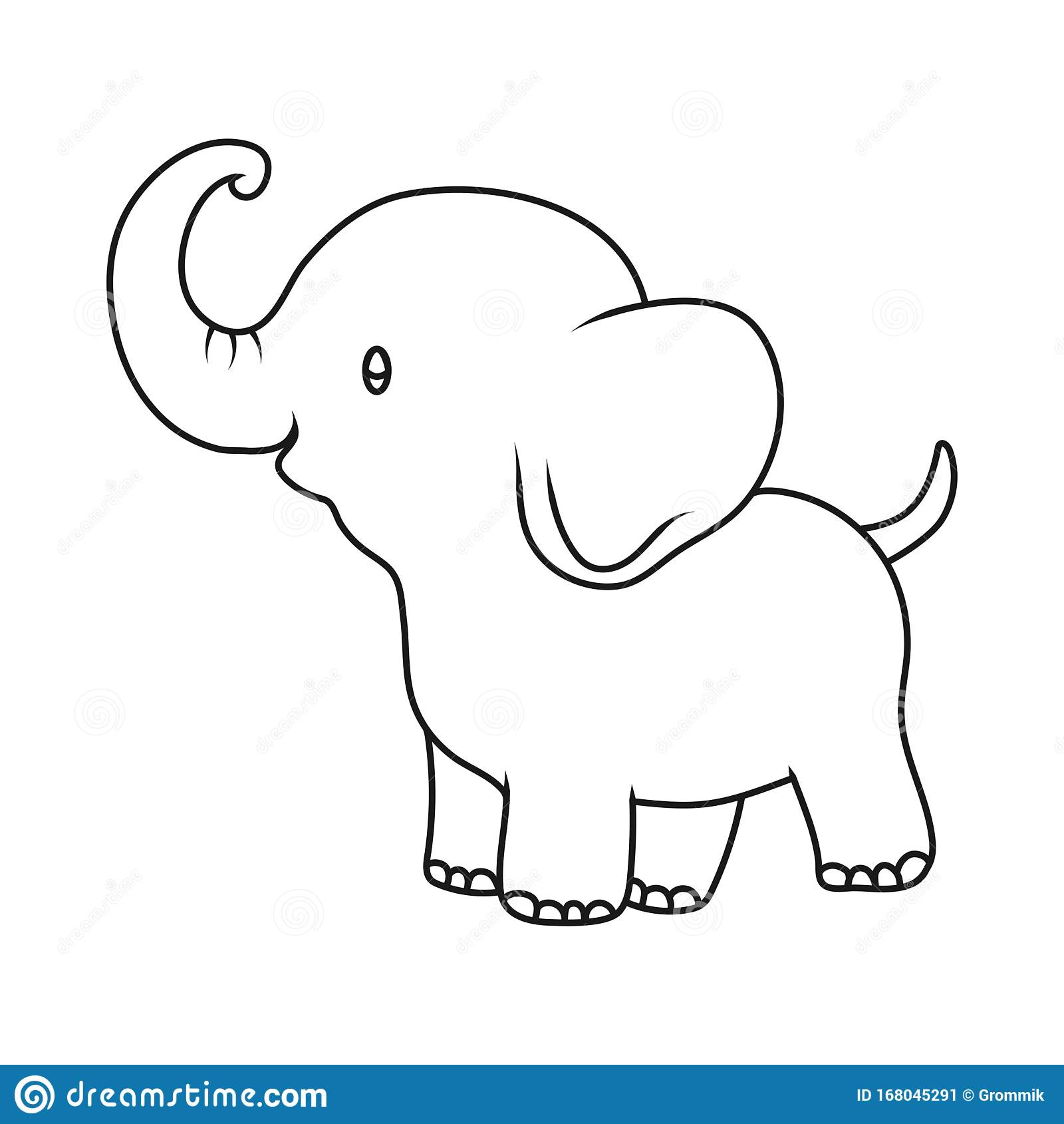 Baby Elephant. Outline Drawing Cartoon Vector ...