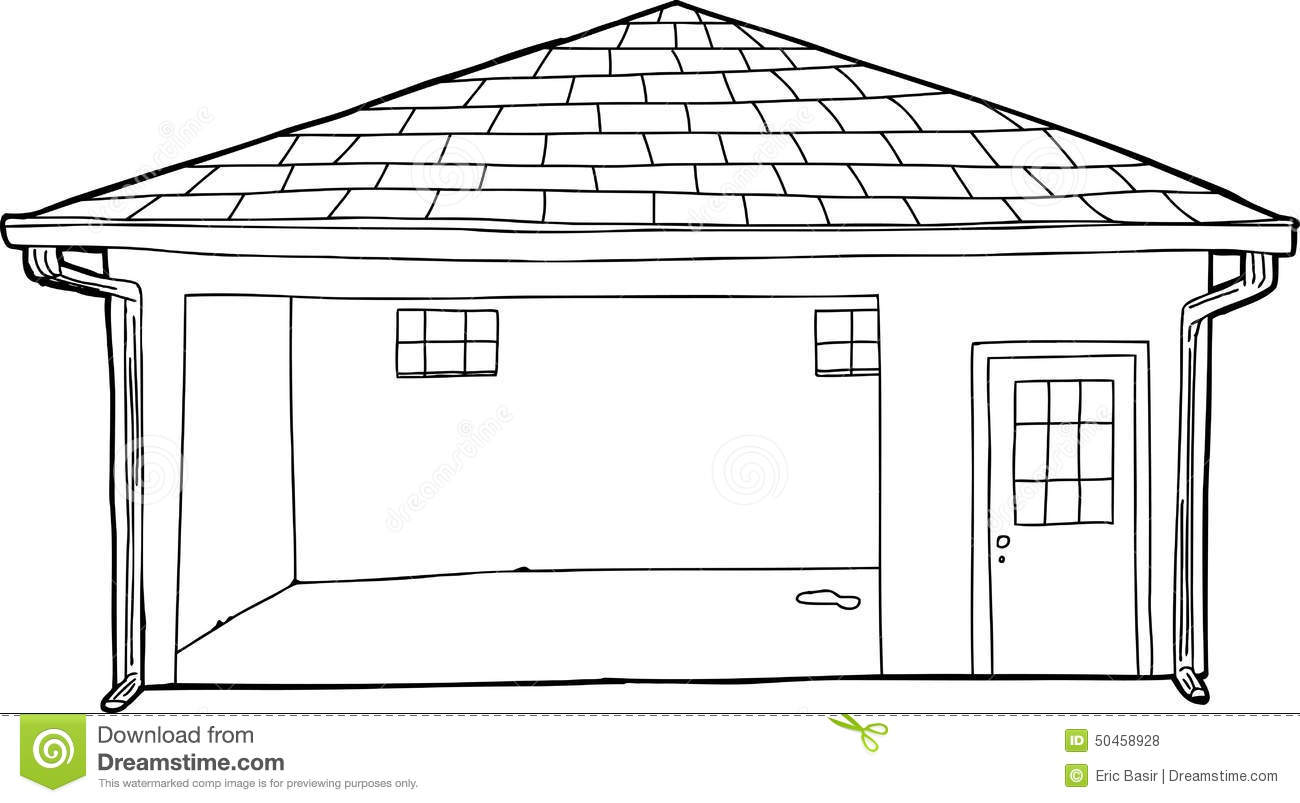 Empty Outlined Garage Cartoon Stock Illustration