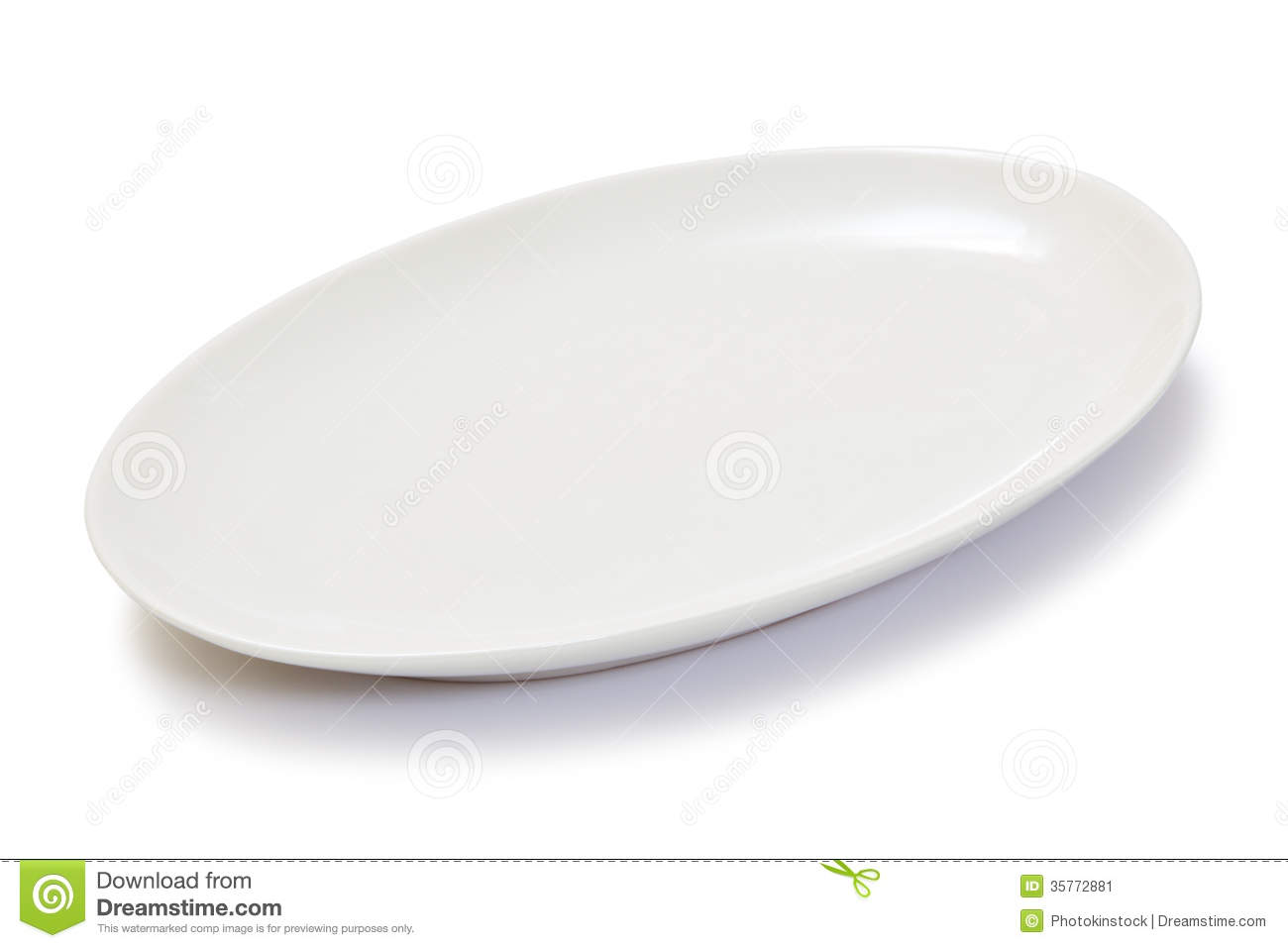 Empty Oval White Plate Stock Image Image Of Dish Utensil 35772881