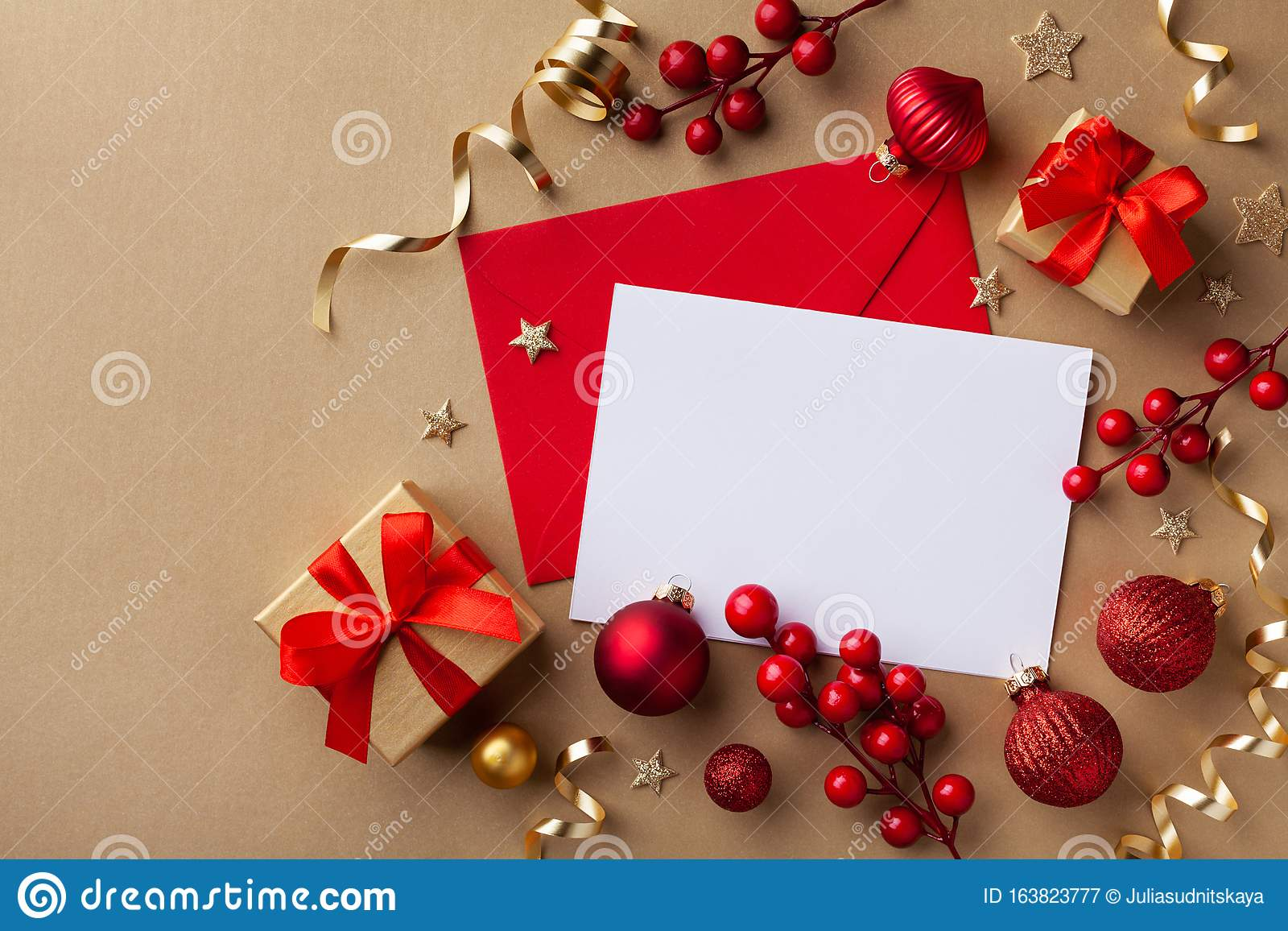 Empty Paper Blank For Christmas Or New Year Greeting Card ...