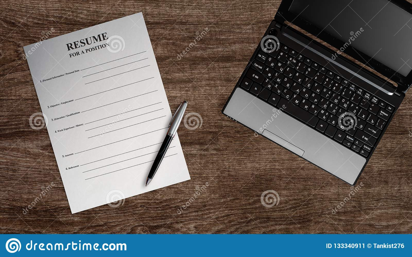 Empty Paper Blank Resume Stock Image Image Of Accessories 133340911