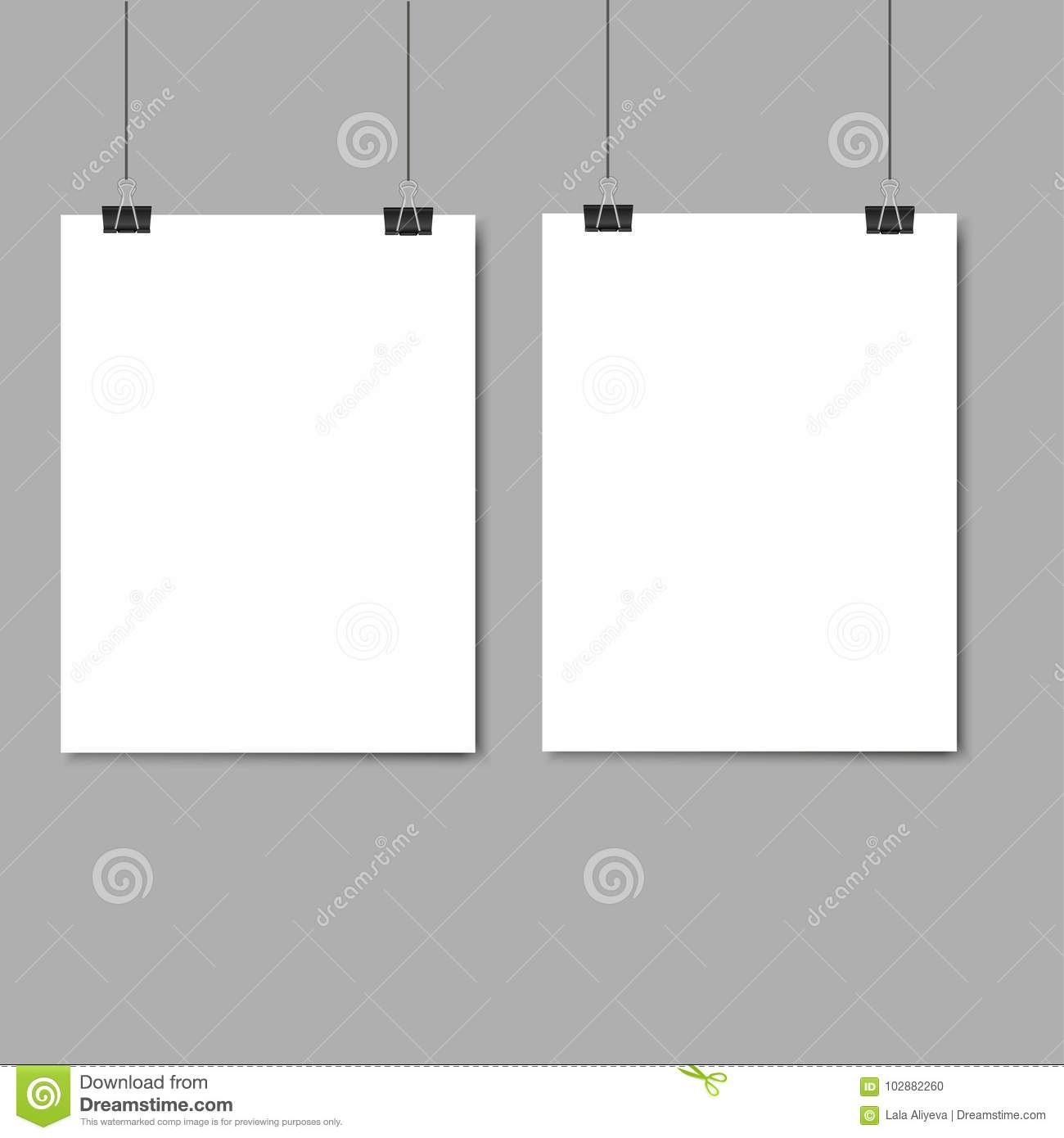 Empty Paper Frame Mockup Hanging With Paper Clip On Grey Background ...