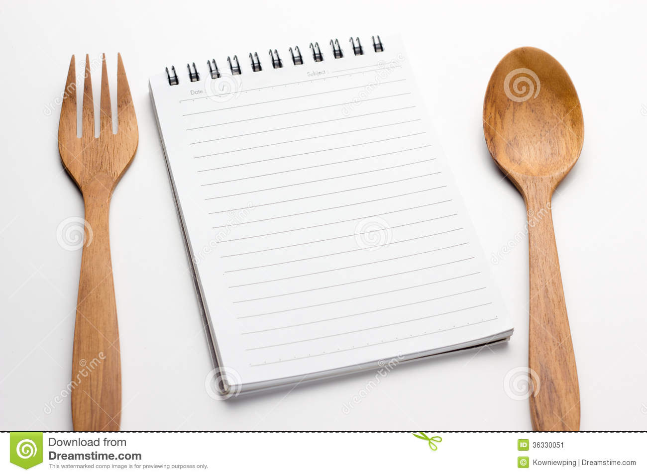 Empty paper for recipe stock image image 36330051 for Table utensils