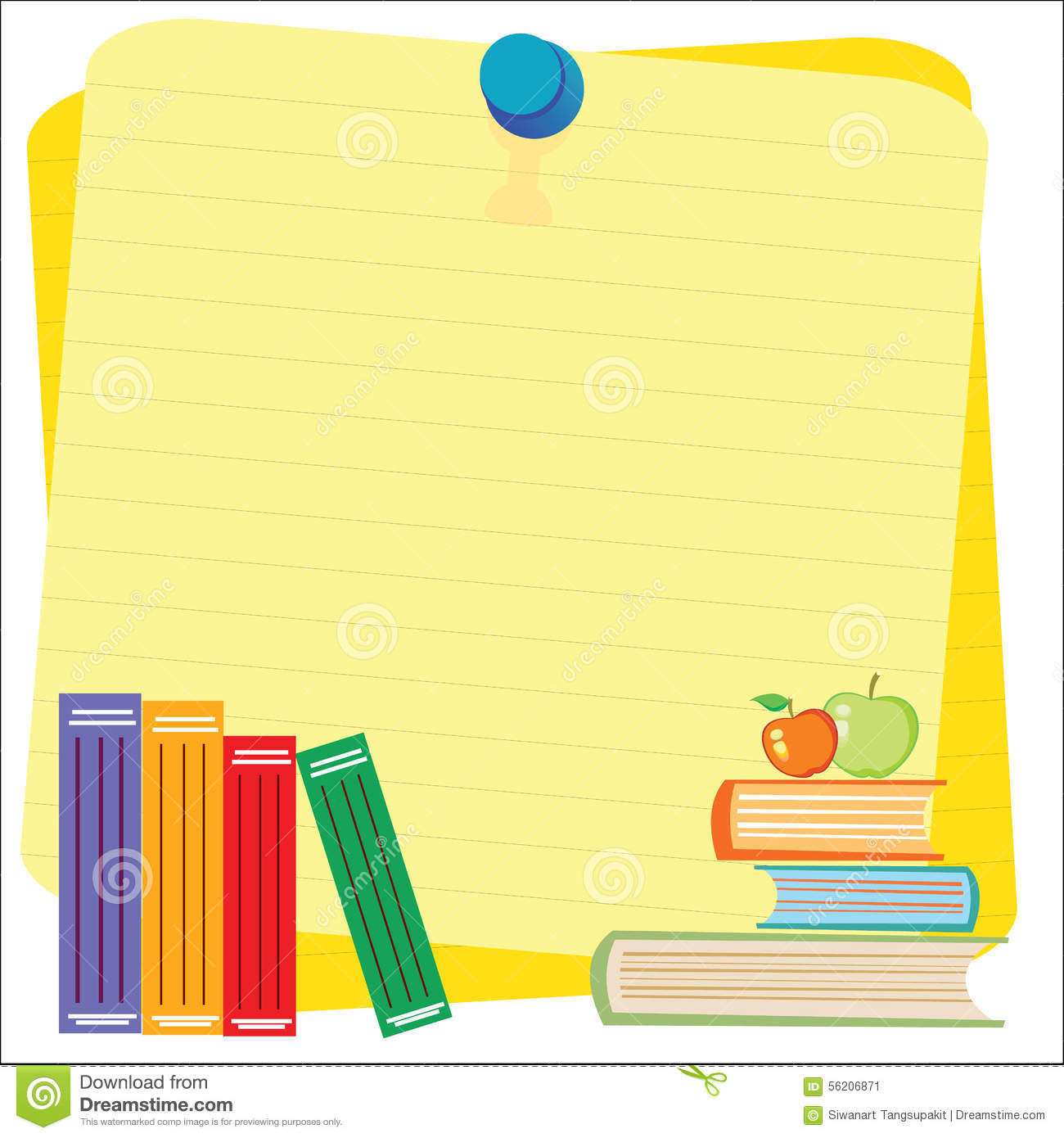 Empty Paper Sheet And Lined Notepad Pages And Pencil For