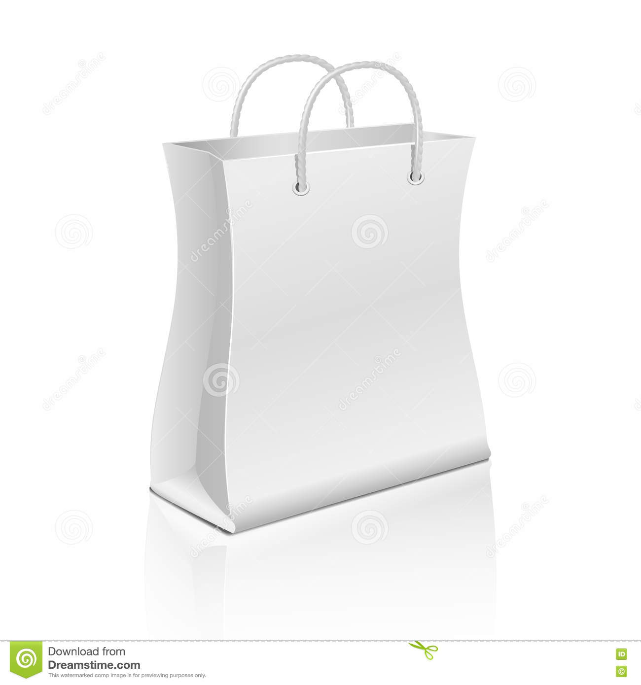empty paper shopping bag on white vector template for advertising