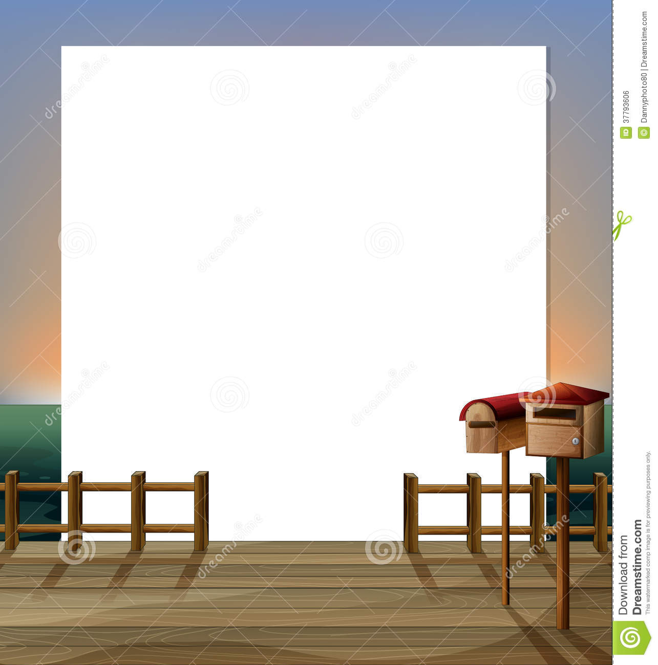 ... Stock Image: An empty paper template with a wooden bridge and mailbox