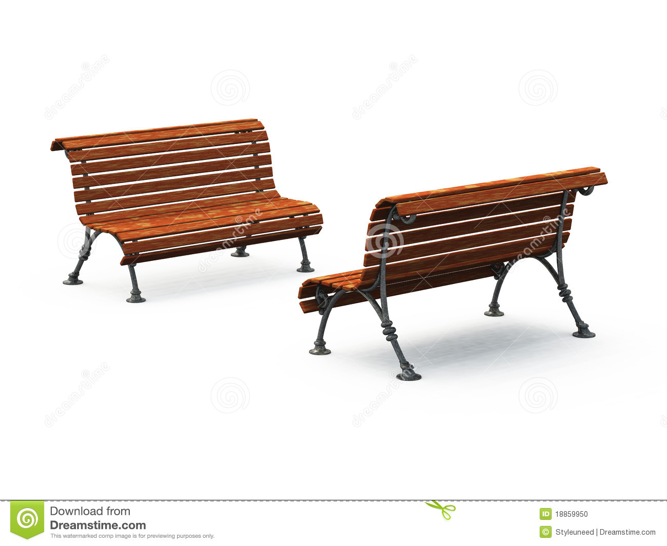 Empty Park Benches Stock Photo - Image: 18859950