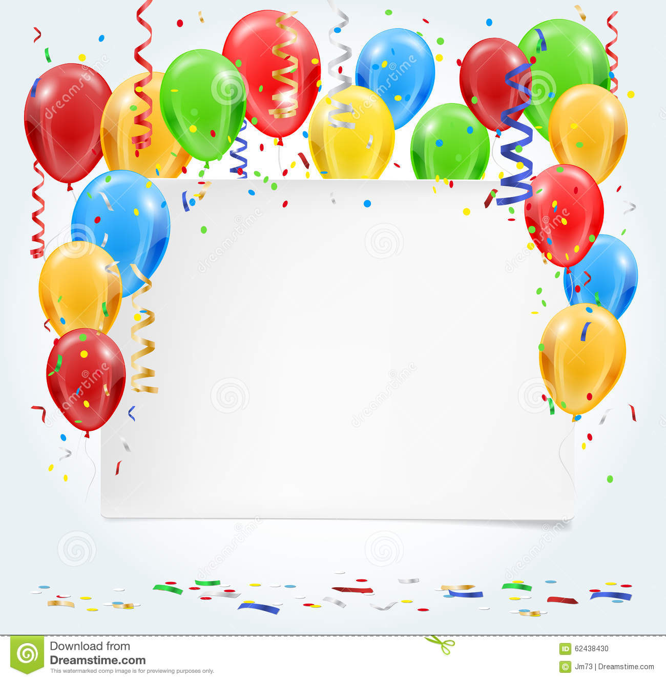empty party invitation with balloons and confetti flying stock