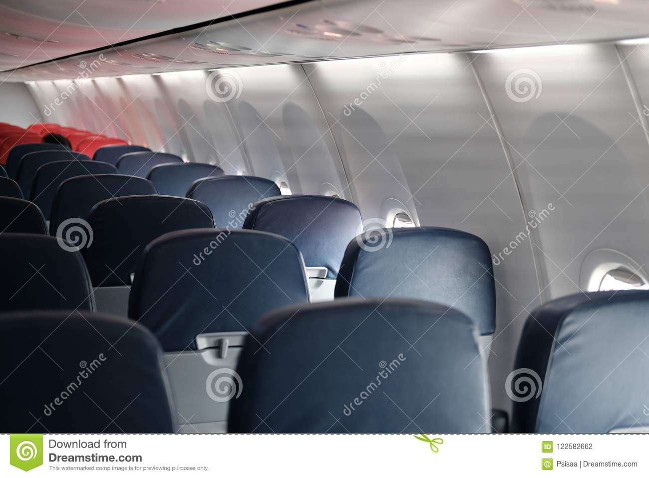 empty passenger seat inside airplane chair in aircraft stock photo