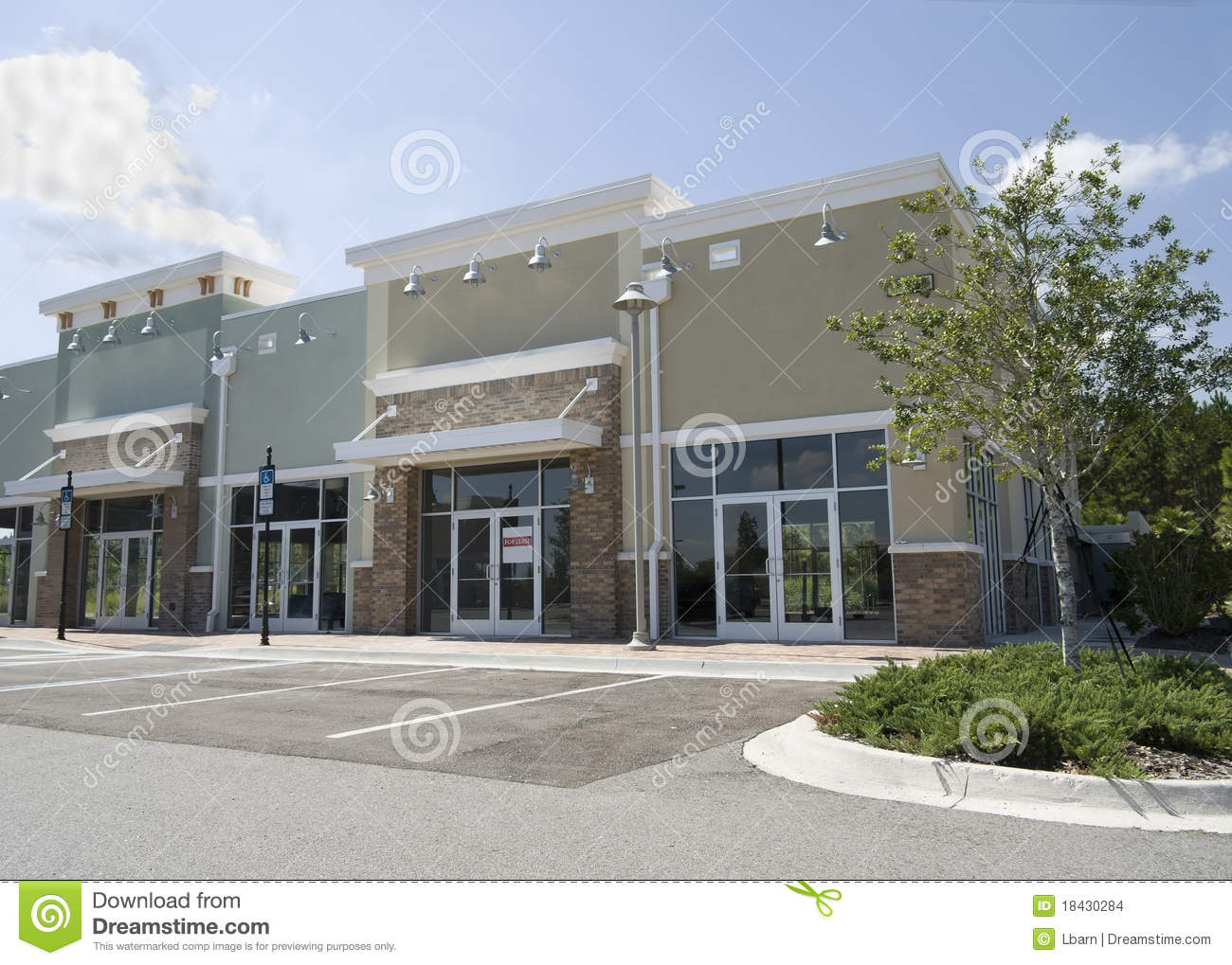 Empty pastel strip mall stock photo image of green mall for Building an estate