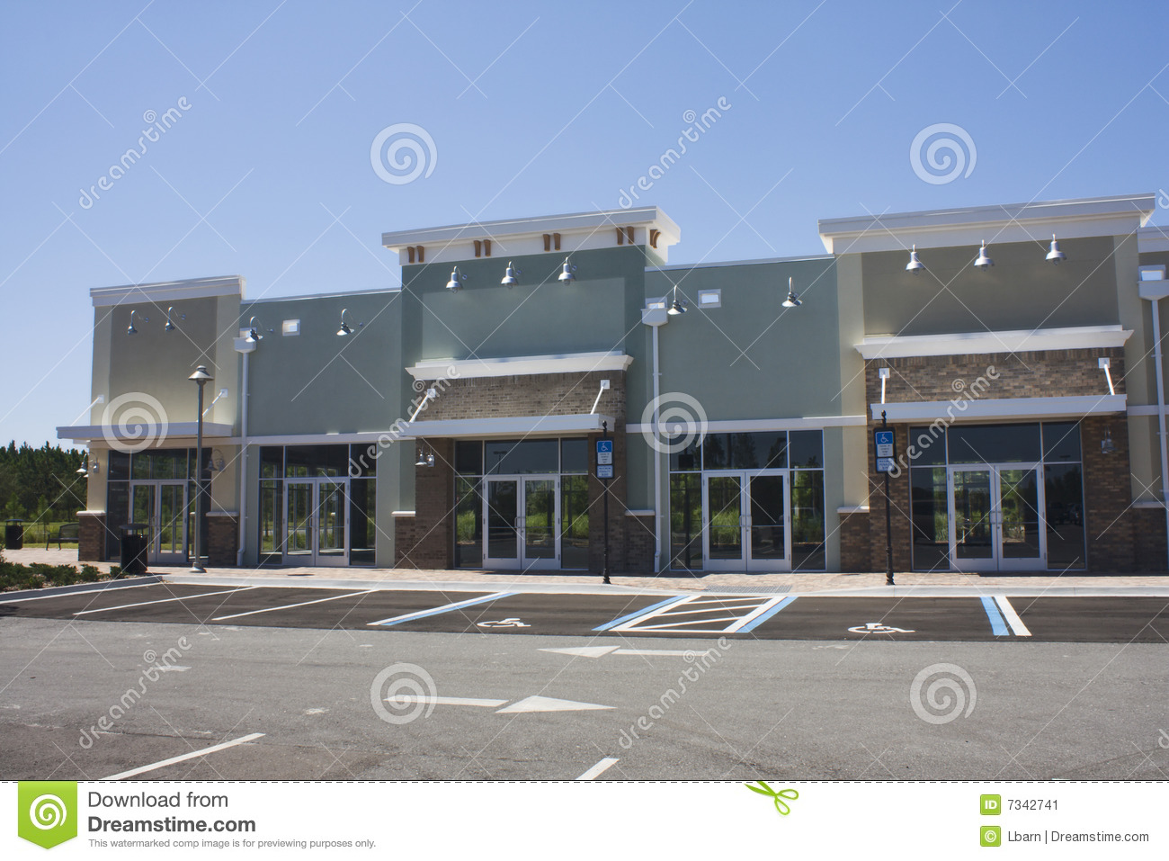 Empty Pastel Strip Mall Stock Image Of Stucco