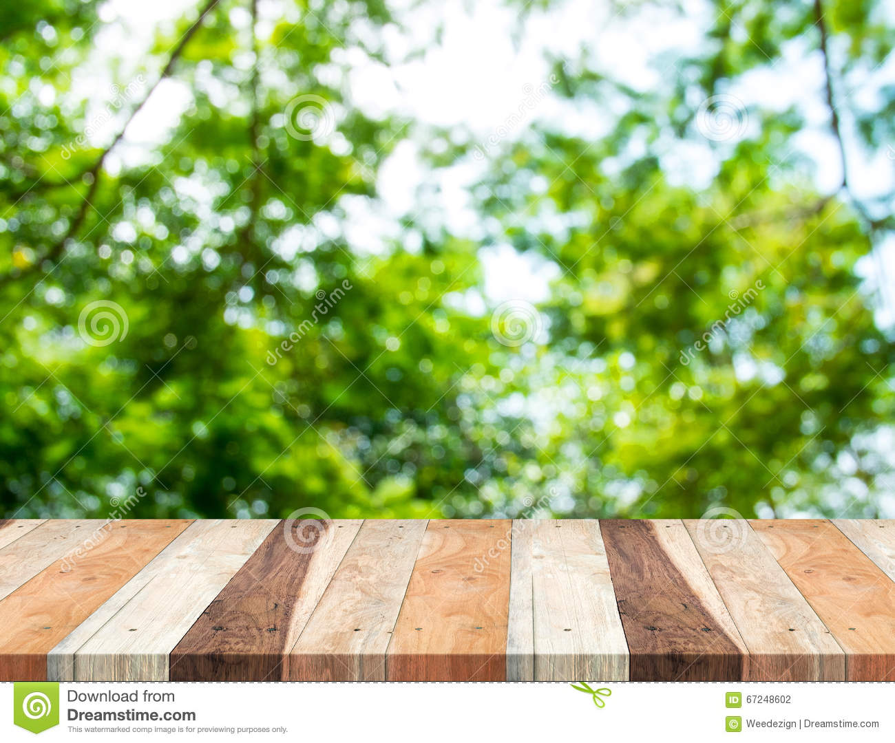 empty perspective table with blurred green tree forest template