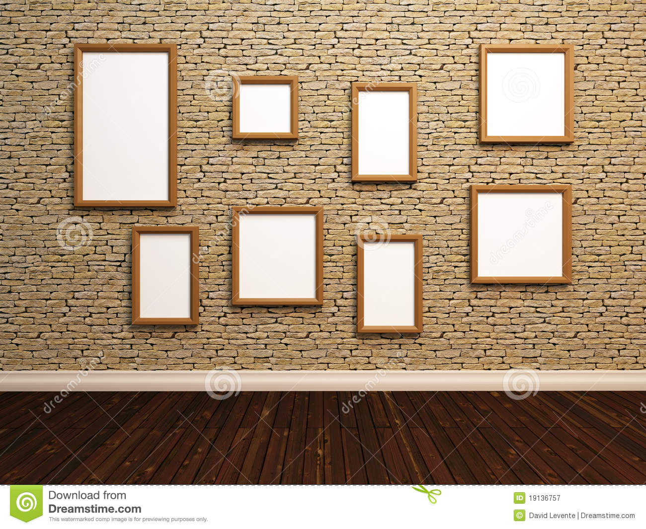 Empty photo frames on stone tile wall.