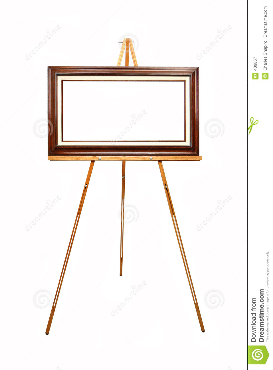 Empty Picture Frame On Wooden Easel Royalty Free Stock