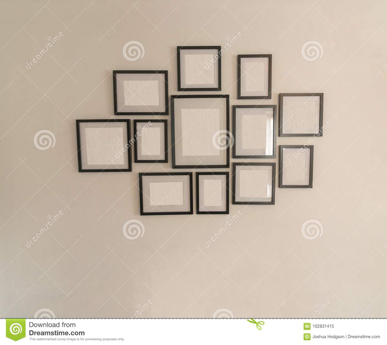 Empty Picture Frames On White Wall Stock Image - Image of clipping ...