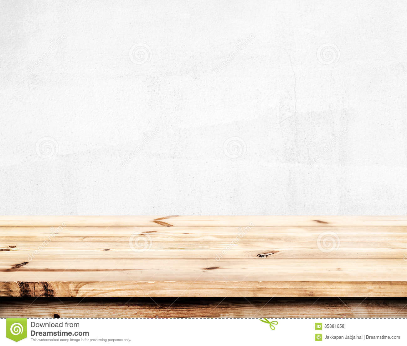 Empty Pine Wood Table With White Wall Background. Stock