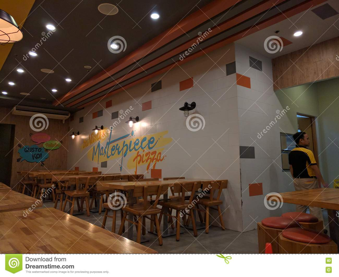 Empty Pizza Restaurant Editorial Image Image Of Lights 76374070
