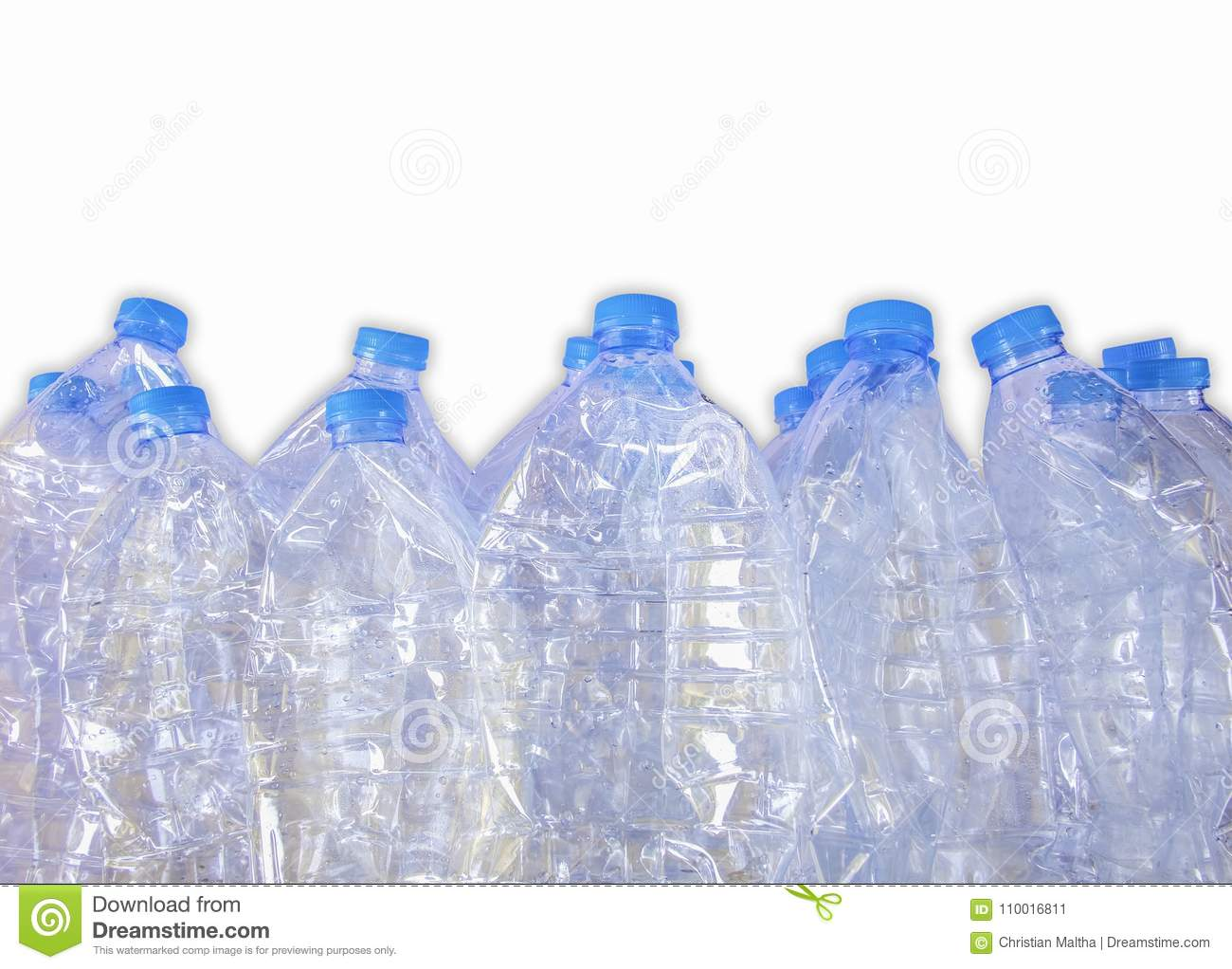Empty plastic bottles of water for recycle,Isolate on white background