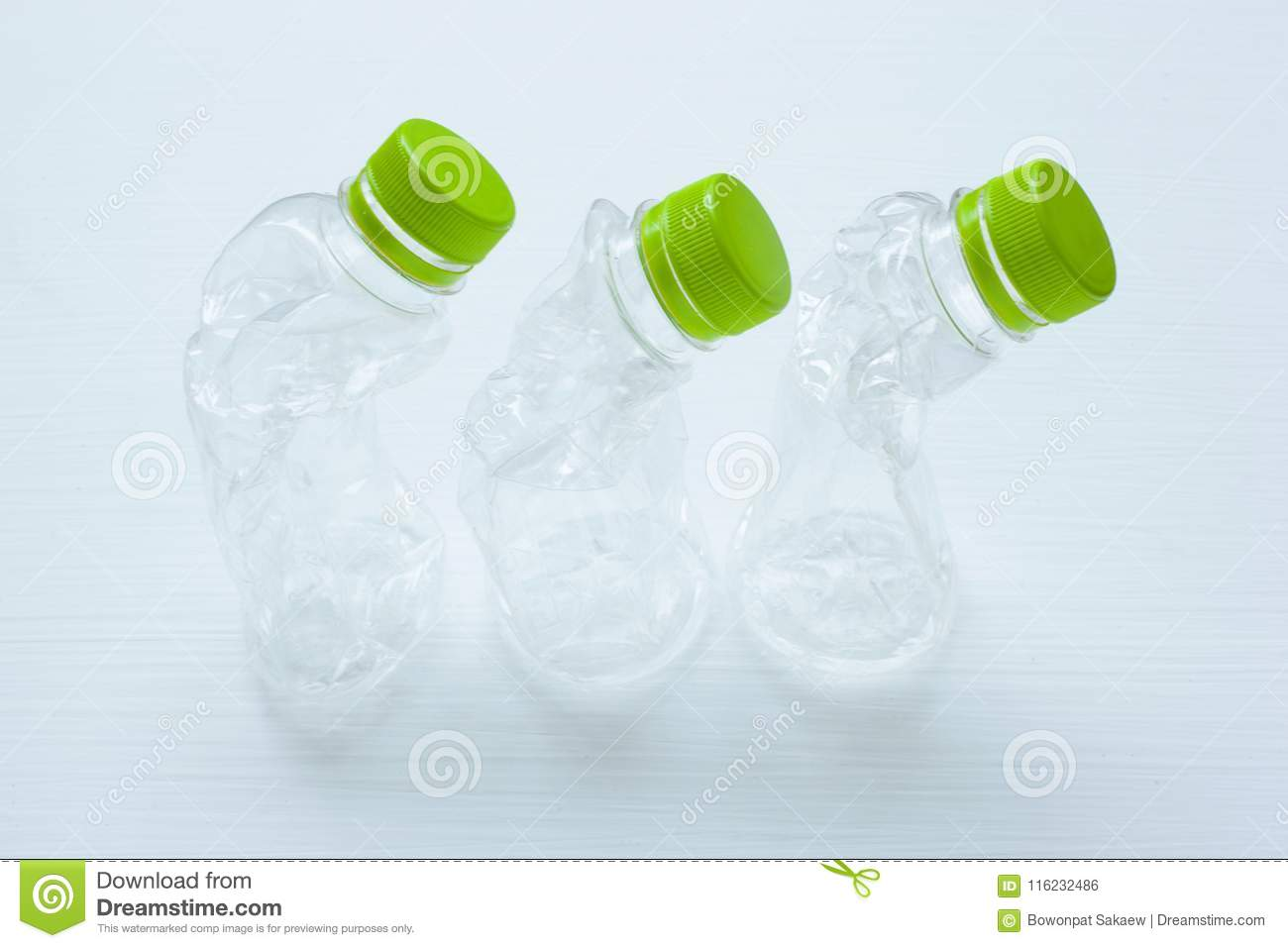 Empty plastic water bottle for recycling isolated.
