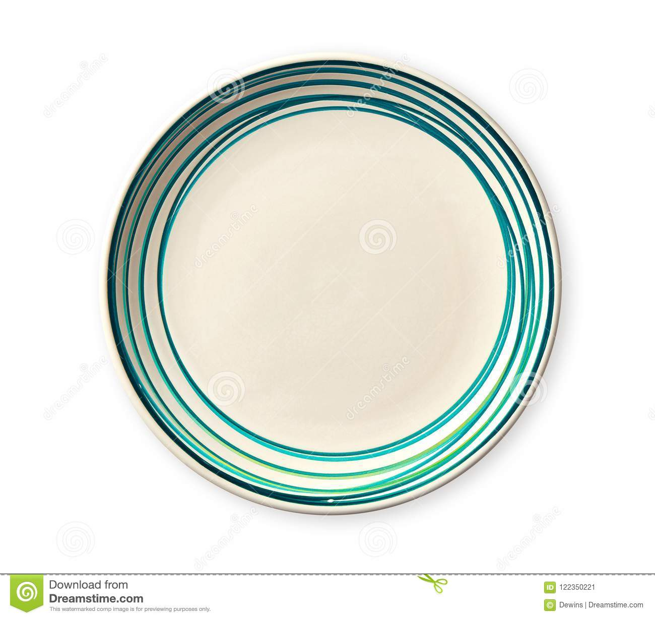 Empty plate with blue pattern edge, Ceramic plate with spiral pattern in watercolor styles, isolated on white background