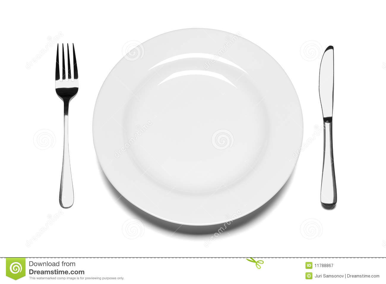 Empty Plate With Fork And Knife. Royalty Free Stock Photography ...