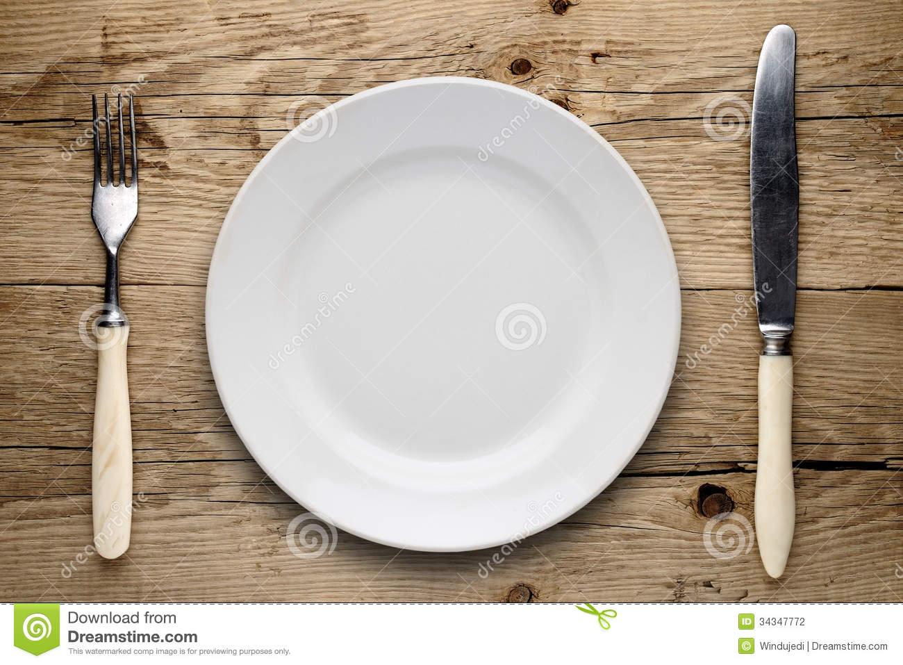 Empty Plate, Old Fork And Knife Stock Photo - Image of kitchen ...