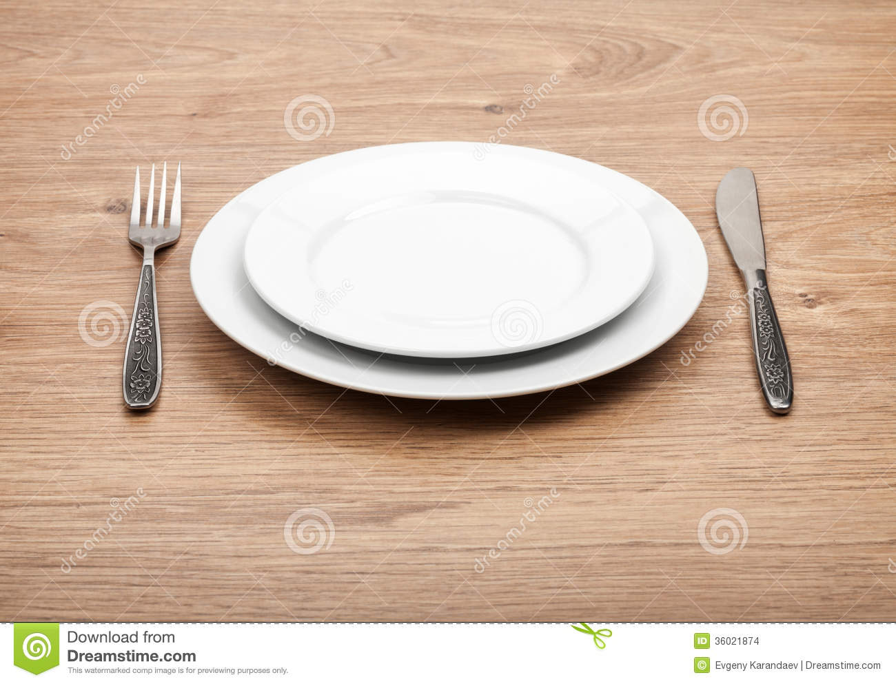 Empty Plate And Silverware Set Stock Photo Image Of