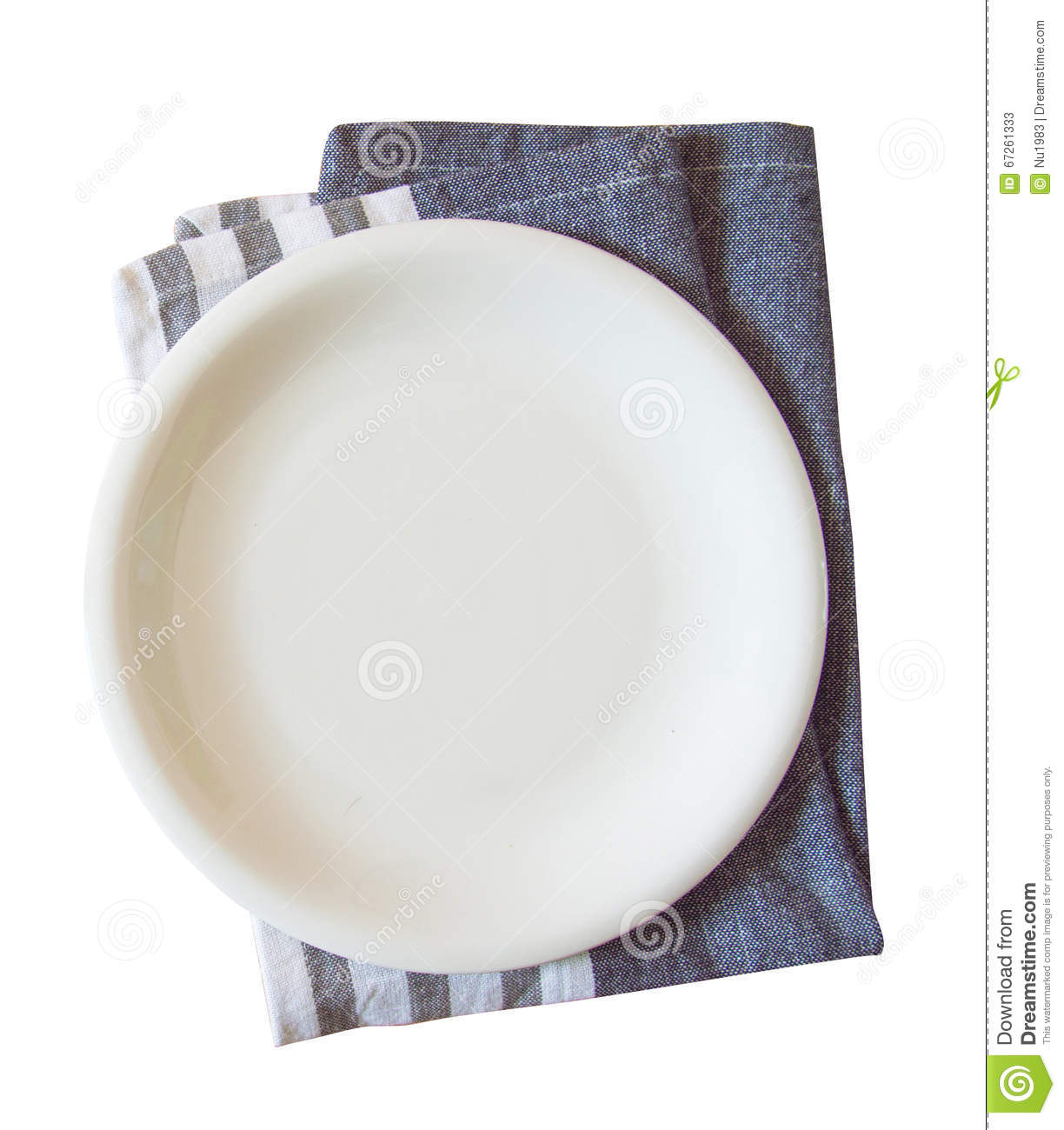 Empty plate and towel isolated
