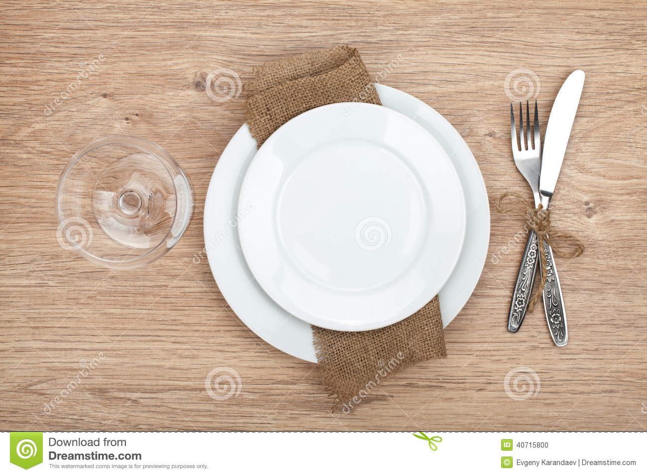 Empty plate wine glass and silverware set & Empty Plate Wine Glass And Silverware Set Stock Photo - Image of ...