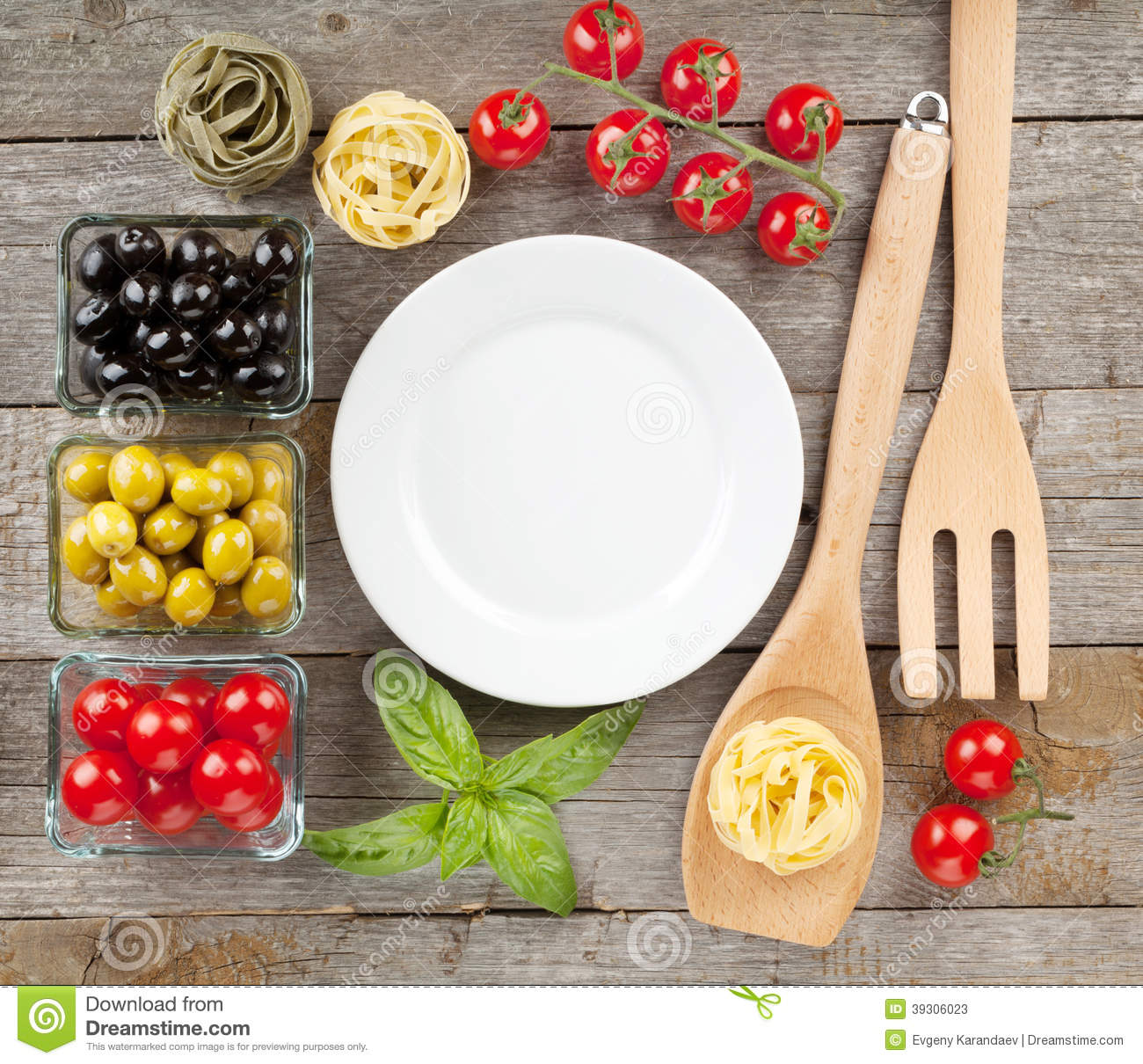 Plate of food on wooden table royalty free stock photo