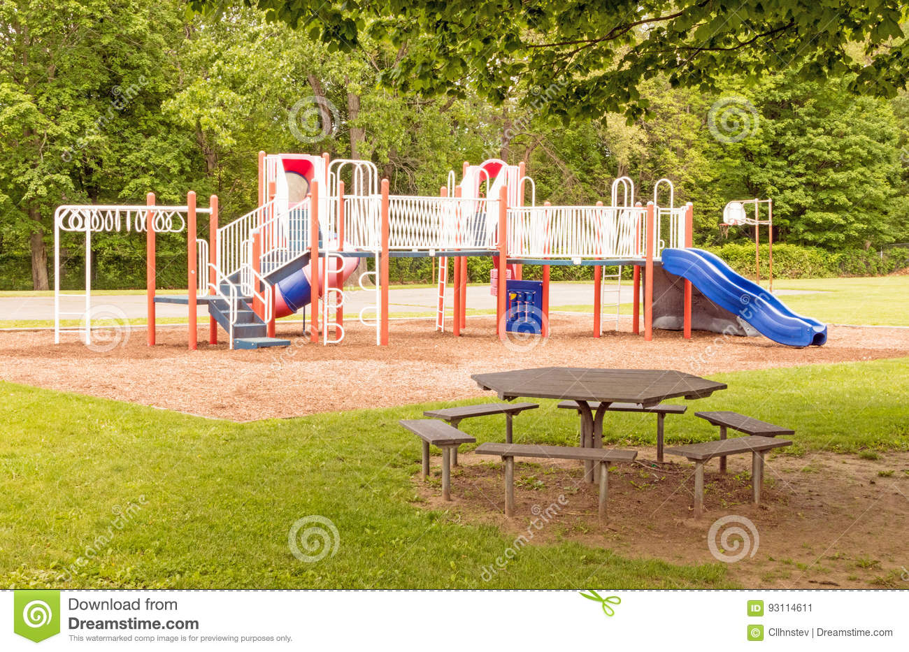 Empty Playground And Picnic Table Stock Image Image Of Public - Playground picnic table