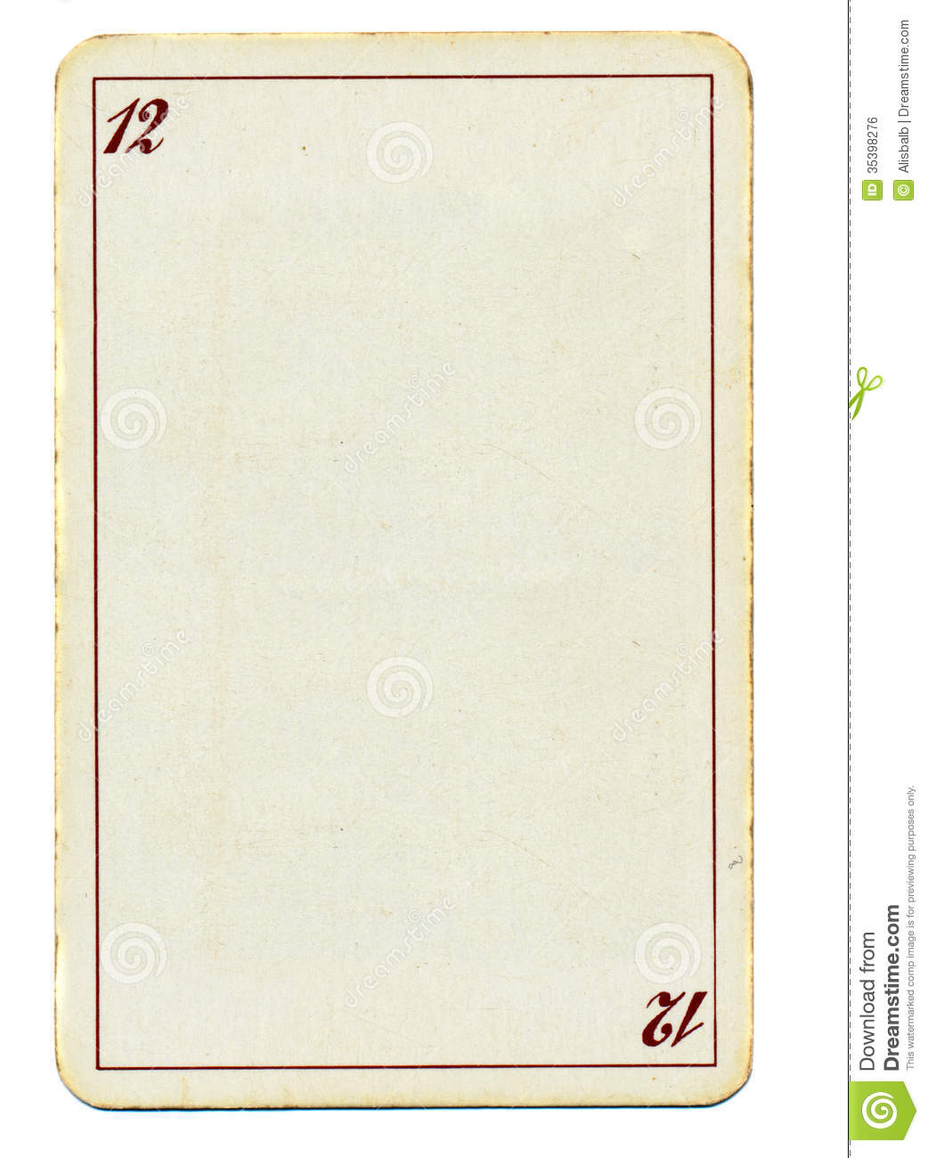 Empty Playing Card Paper Background With Number Twelve 12