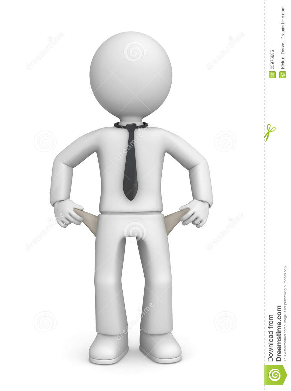 White faceless figure showing empty pockets and wearing a black tie. .