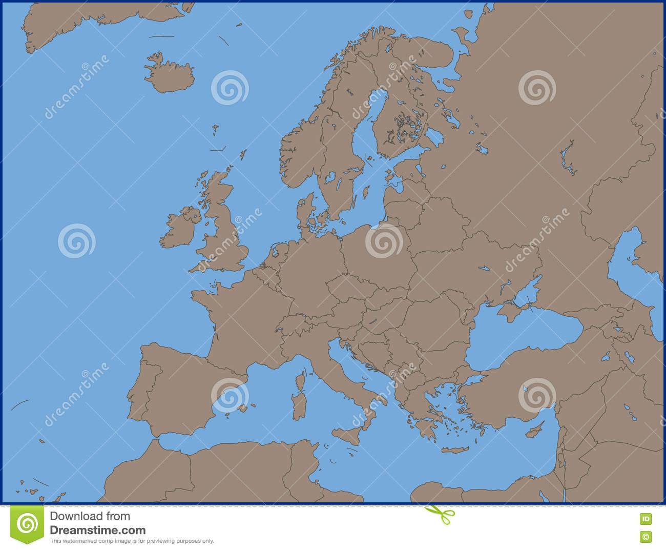 Empty Political Map Of Europe Illustration 72010130 - Megapixl