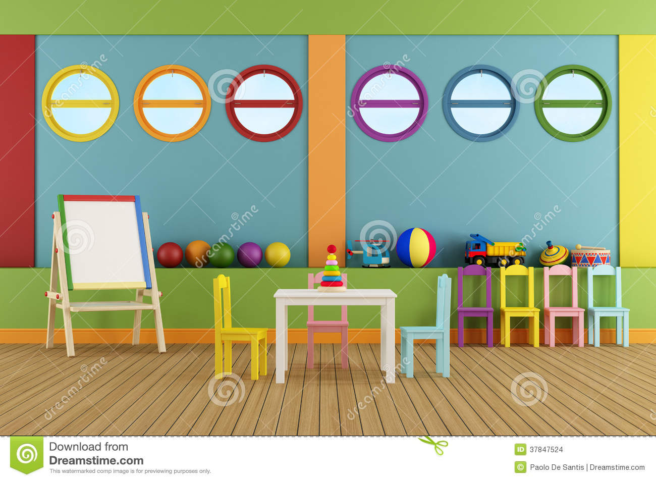 empty preschool classroom stock illustration. illustration of