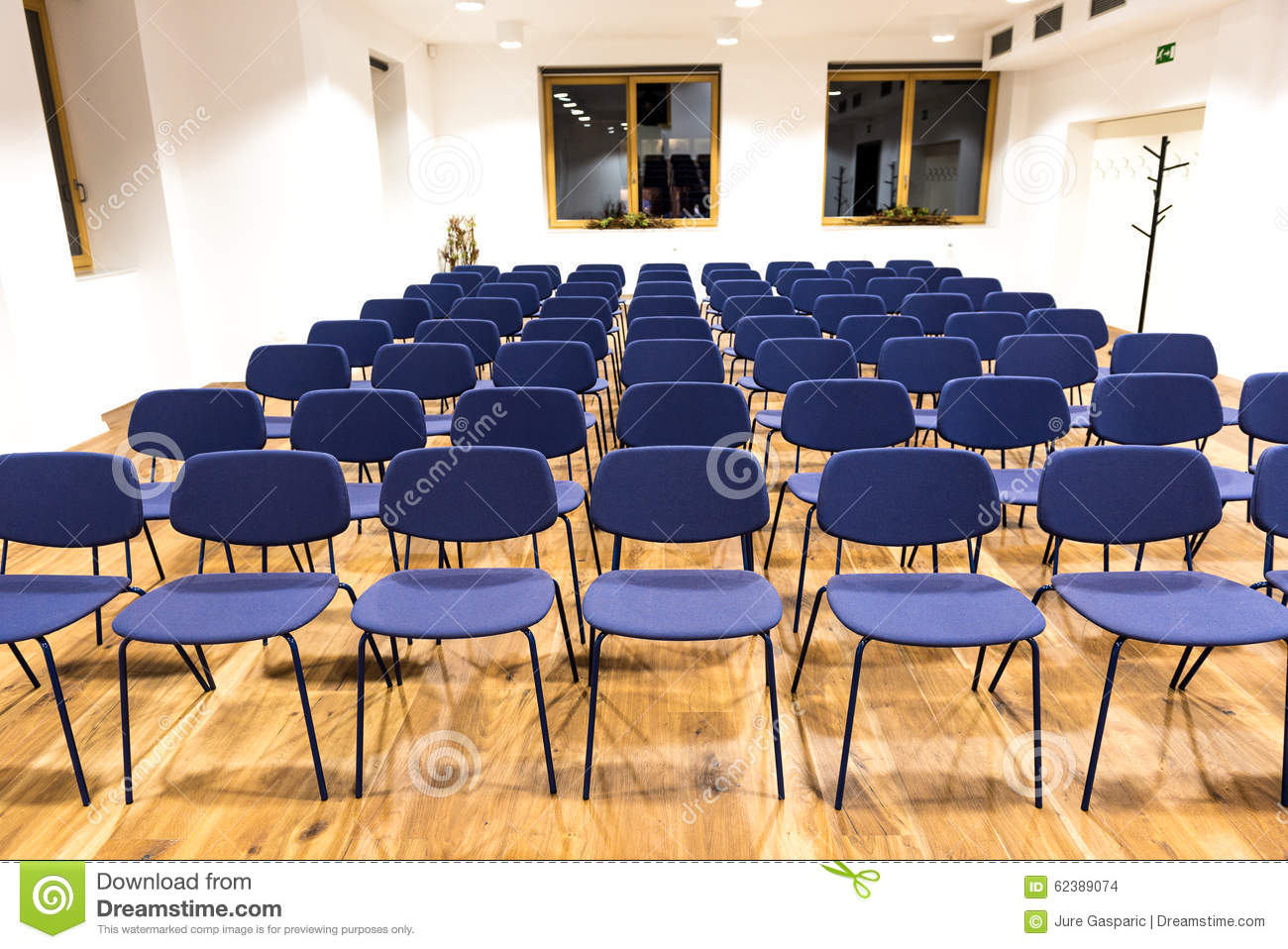 Empty Press Room Conference Room Or Conference Hall Stock