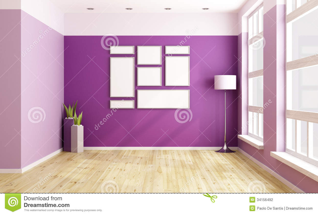 Empty Purple Room Stock Photography Image 34156492