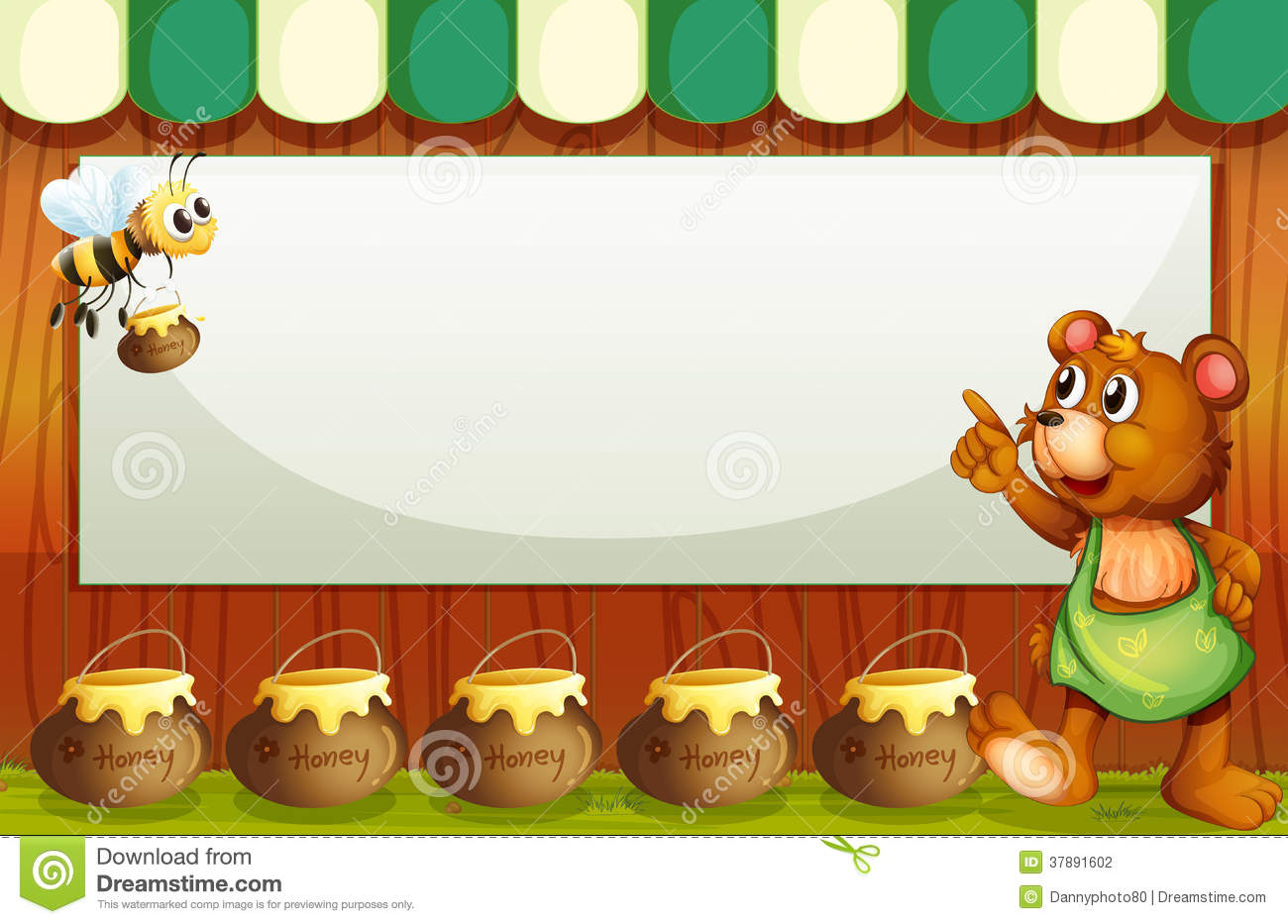 An empty rectangular template with a bee and a bear