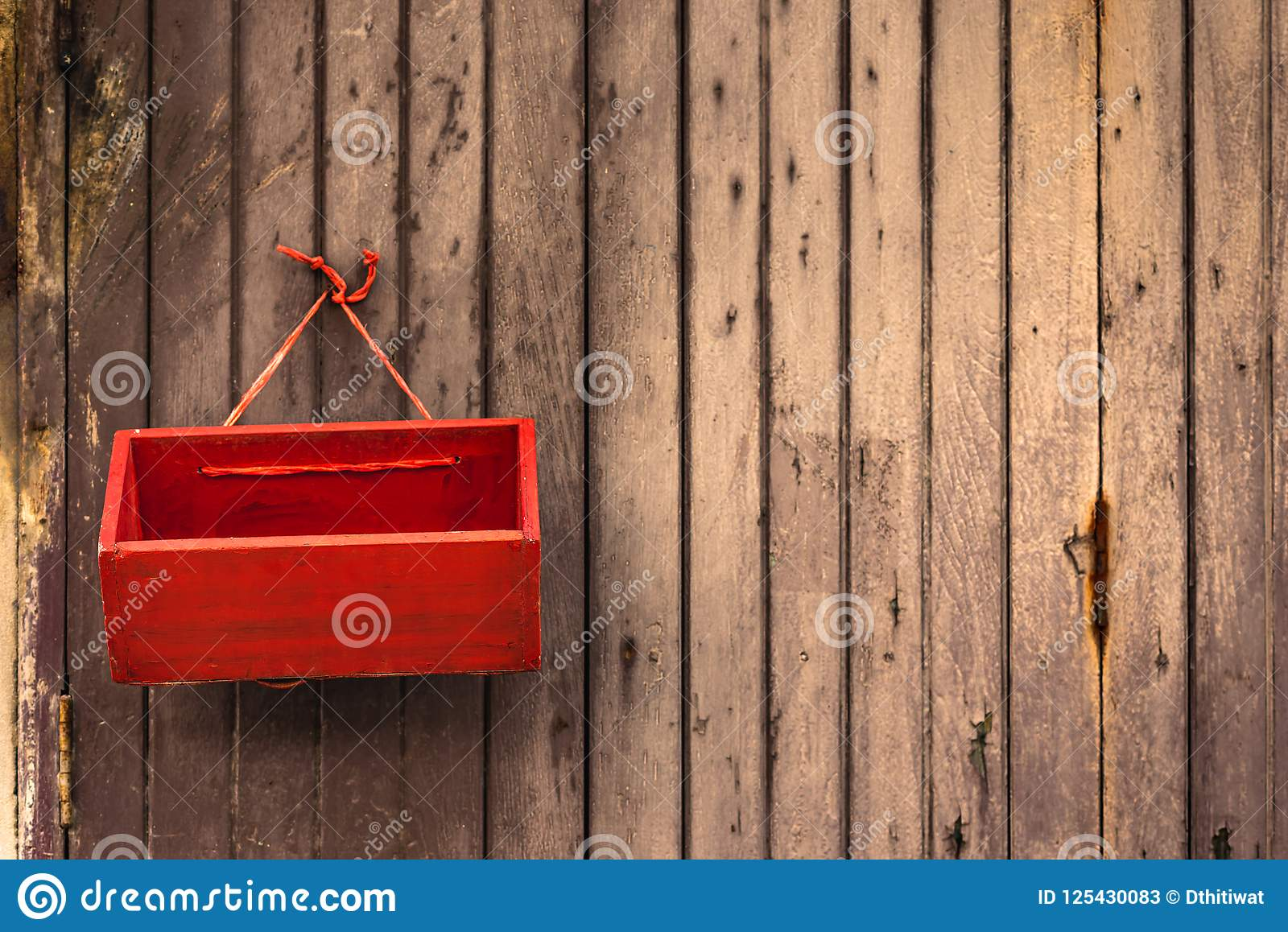 Red Box Hang On Old Wooden Door Stock Image Image Of Front