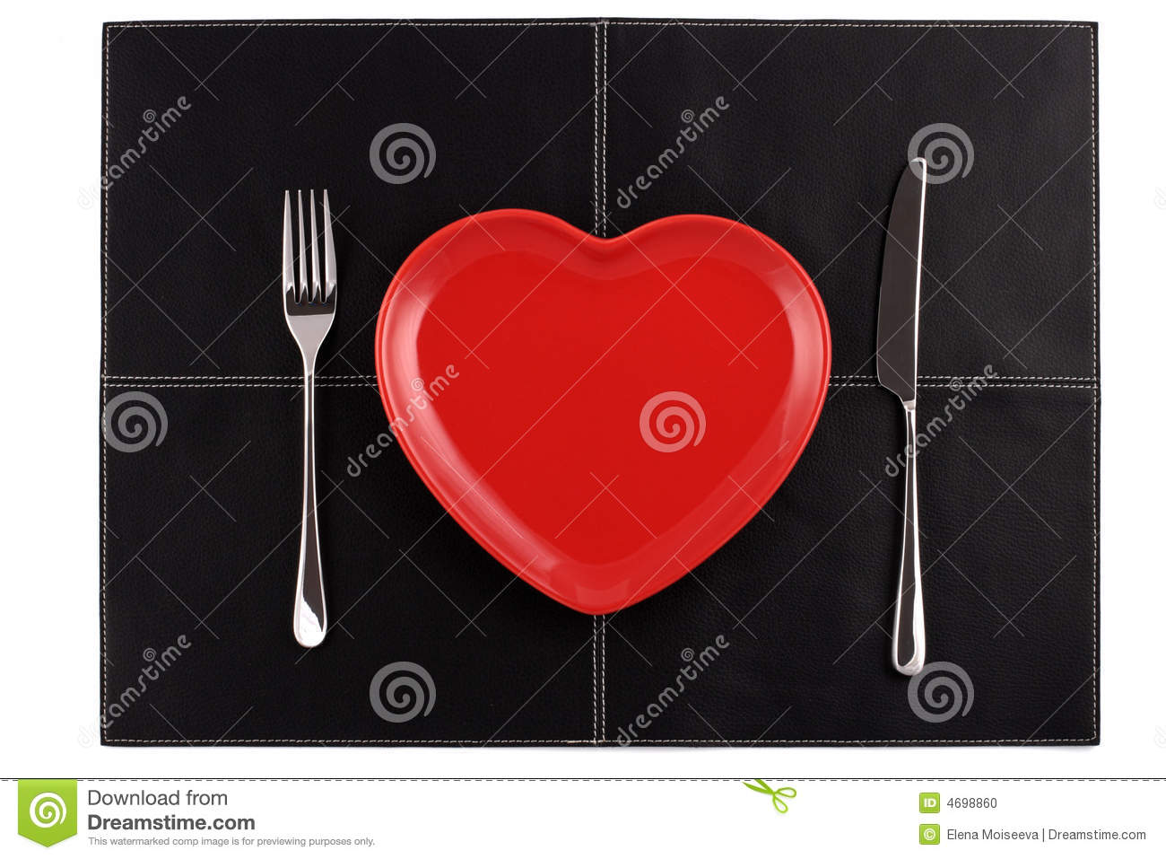 Empty red heart plate knife fork on black leather stock photo download comp ccuart Choice Image