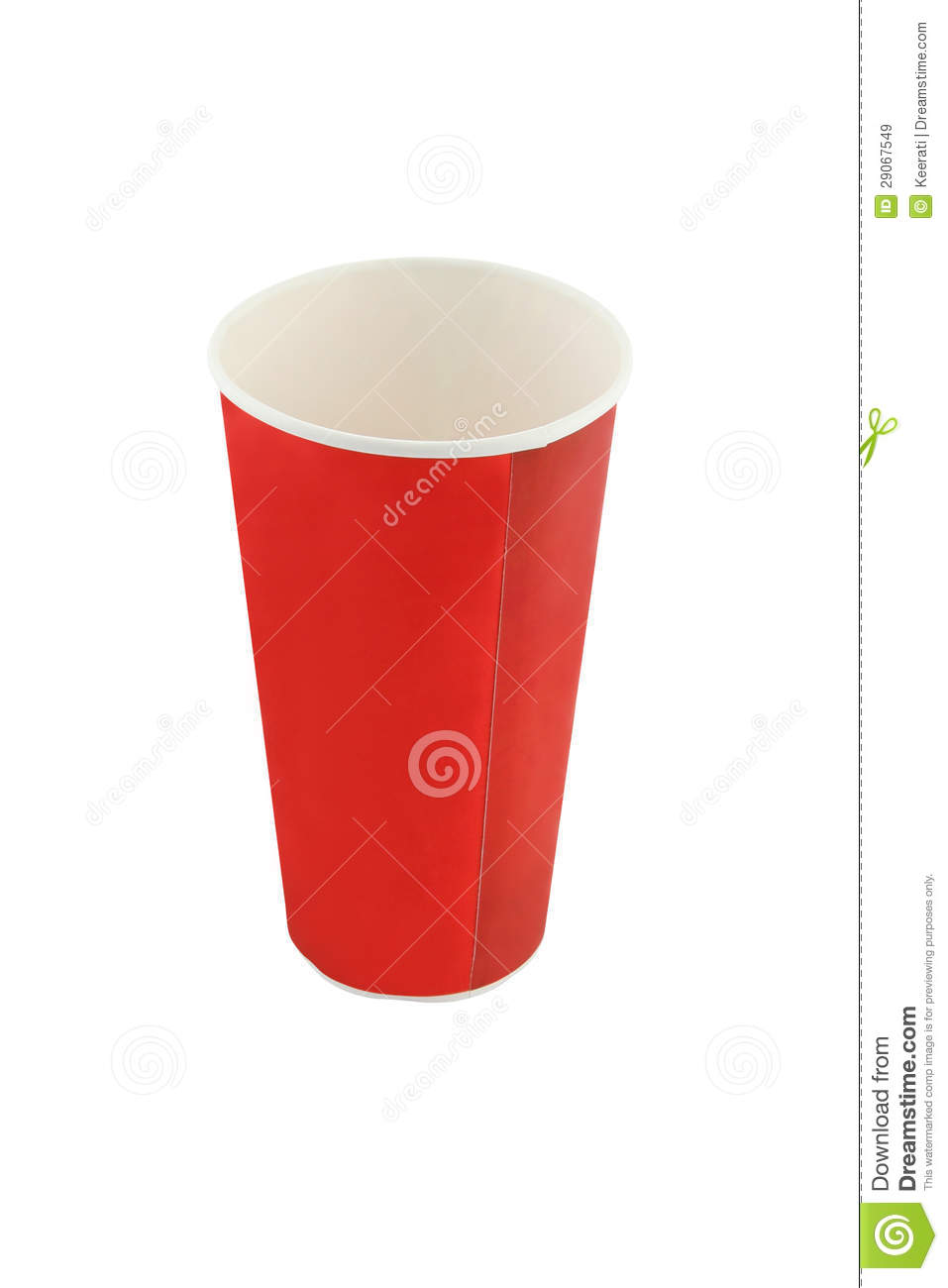 Empty red soda beverage paper cup royalty free stock for Pizza in a mug without baking soda