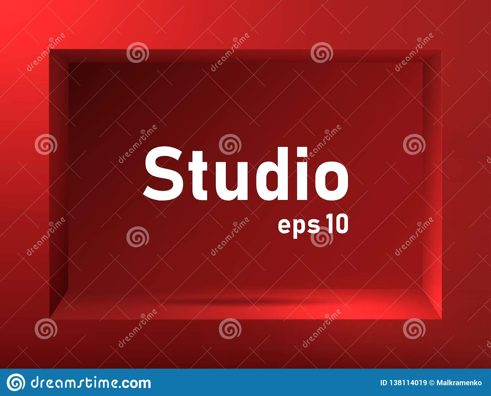 Exhibition Stand Free Vector : Empty red studio background with square groove. free space for
