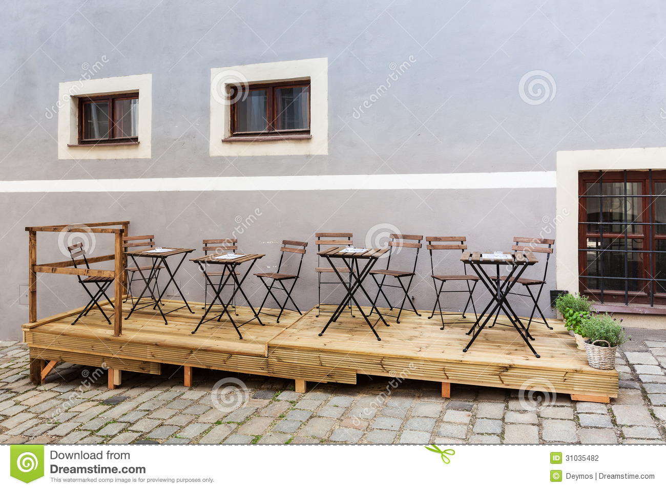 Empty Restaurant Or Coffee Shop Terrace Stock Photo Image Of