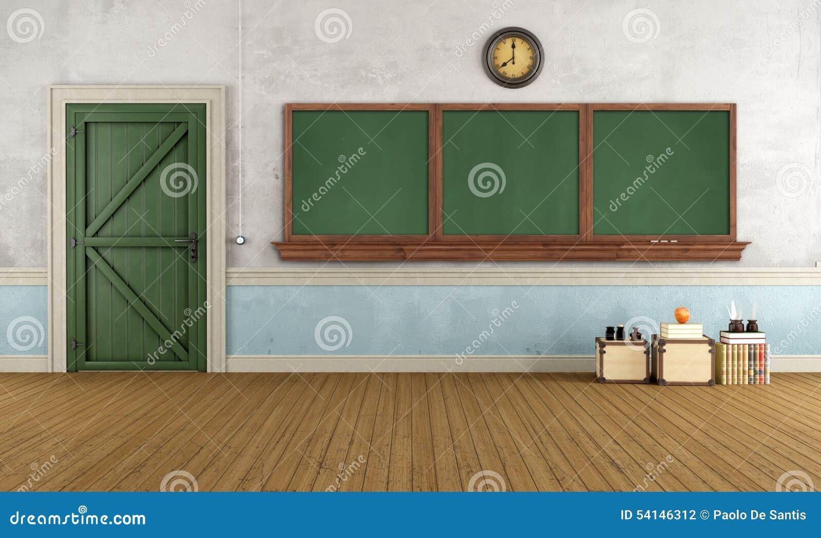 Cartoon classroom door - Empty Retro Classroom