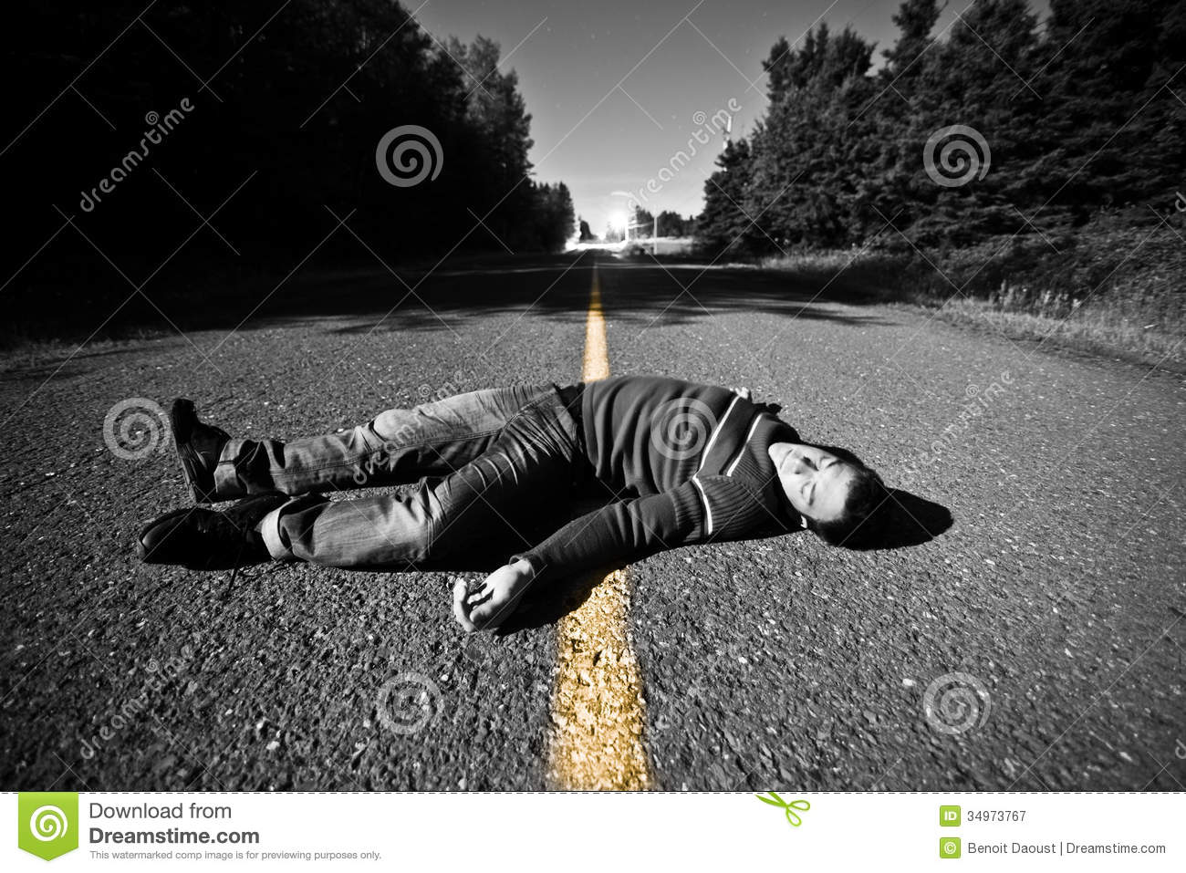 Empty Road With Dead Body In The Middle Stock Image