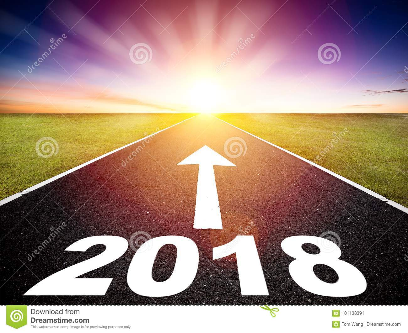 Empty road and happy new year 2018 concept