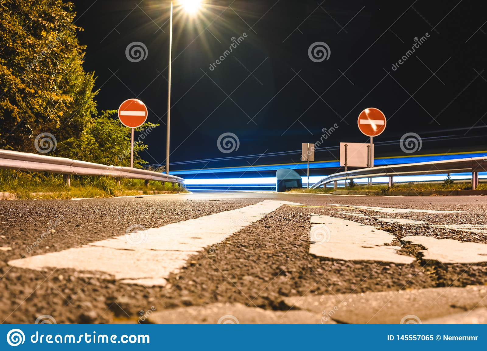 Empty road at night/Closed Road at Darkness