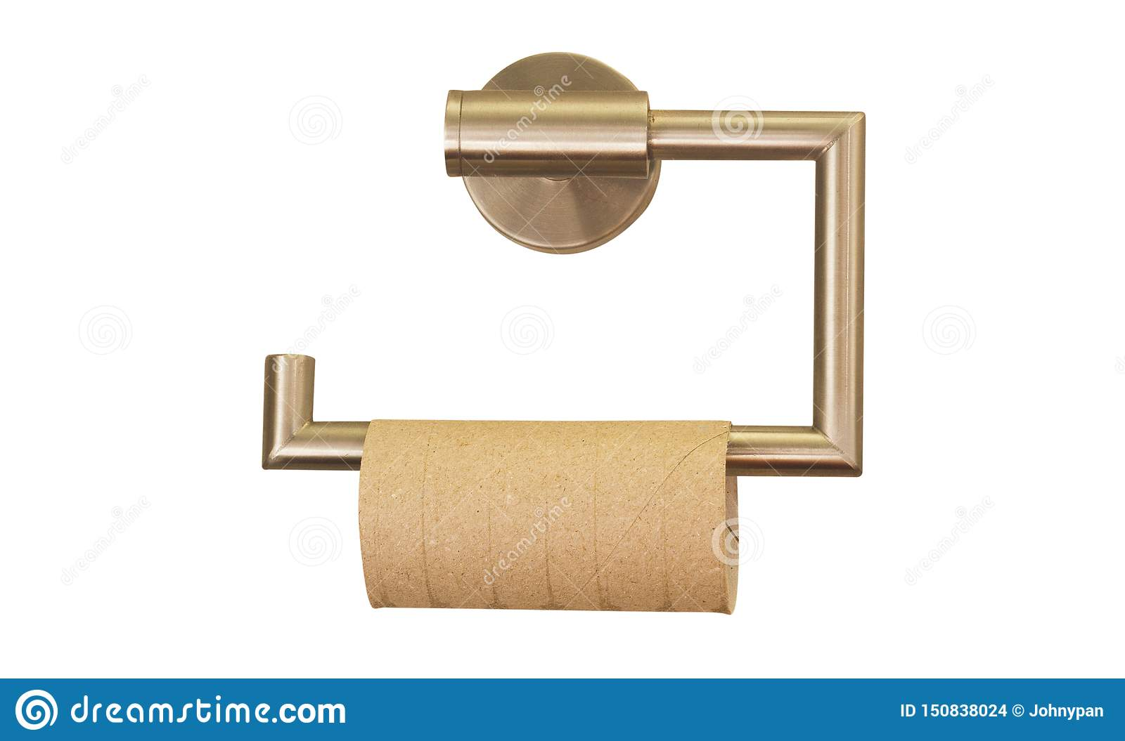Empty roll of toilet paper in the bathroom