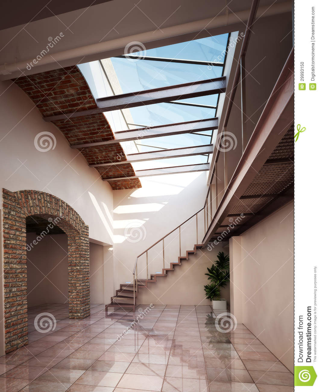 Empty Room With Rustic Brick And Ceiling Skylights Stock